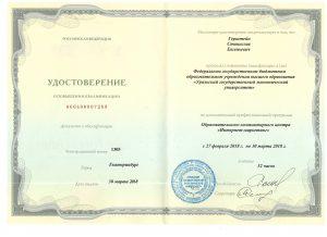 Герштейн С.Е. диплом интернет-маркетолог от УРГЭУ